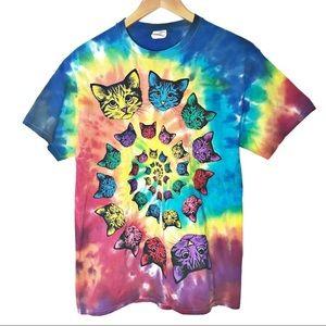 Grateful Dead inspired spiral tie dye rainbow cats
